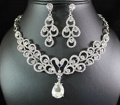 SWAN CLEA AUSTRIAN RHINESTONE CRYSTAL NECKLACE EARRINGS SET BRIDAL WEDDING N1578