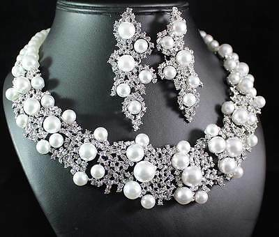 PARTY PEARL CLEAR AUSTRIAN RHINESTONE CRYSTAL BIB NECKLACE EARRINGS SET S1750