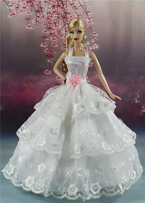 White Fashion Princess Party Dress/Wedding Clothes/Gown For Barbie Doll S171P7