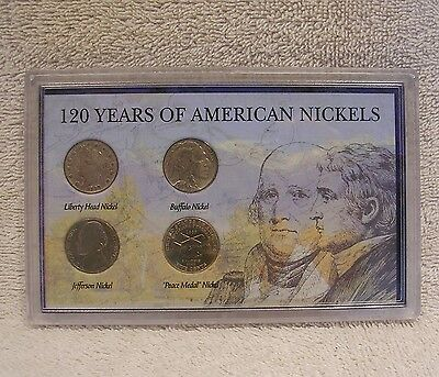 120 Years of American Nickels - Liberty Head - Buffalo - Jefferson - Peace Medal