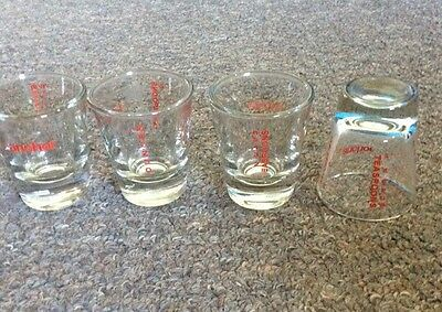 4 ANCHOR HOCKING RED KITCHEN MEASURING SHOT GLASS 1 OZ TEASPOON TABLESPOON MARKS