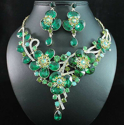DAISY GREEN AUSTRIAN RHINESTONE CRYSTAL BIB NECKLACE EARRINGS SET GOLD N1706G