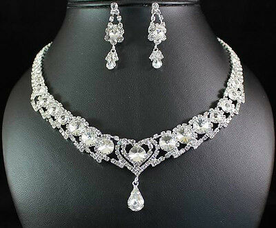 BRIDAL CLEAR AUSTRIAN RHINESTONE CRYSTAL NECKLACE EARRINGS SET WEDDING N1436