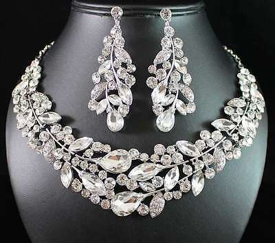 WEEPING WILLOW AUSTRIAN RHINESTONE CRYSTAL NECKLACE EARRINGS SET N1781-SILVER