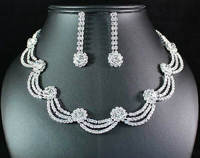 WAVES CLEAR AUSTRIAN RHINESTONE CRYSTAL NECKLACE EARRINGS SET BRIDAL WED N1510