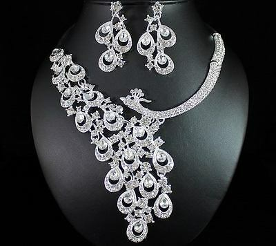 PEACOCK CLEAR AUSTRIAN RHINESTONE CRYSTAL NECKLACE EARRINGS SET BRIDAL WED N1391