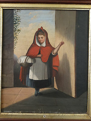19thC Antique LITTLE RED RIDING HOOD Lady & Red Cape PORTRAIT Folk Art PAINTING