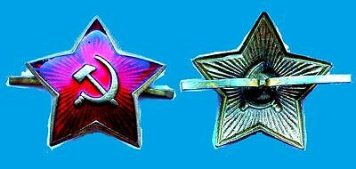 Russian Soviet army Military cap hat badge Red Star Hammer and Sickle.***