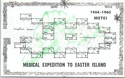 "1965 McGILL UNIVERSITY Montreal Postcard ""Medical Expedition Easter to Island"""