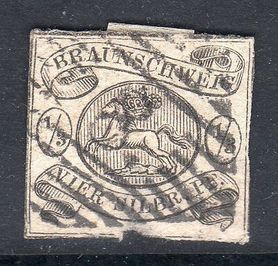 GERMANY Brunswick 1856 1/3ggr on white good used barred cancel SG 5