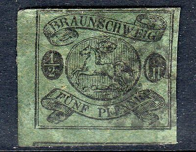 GERMANY Brunswick 1861 ½sgr on blue green imperf good used  SG 15