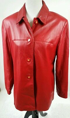 Women's ST. JOHN SPORT by Marie Gray Red Leather Button Front Jacket Size Large