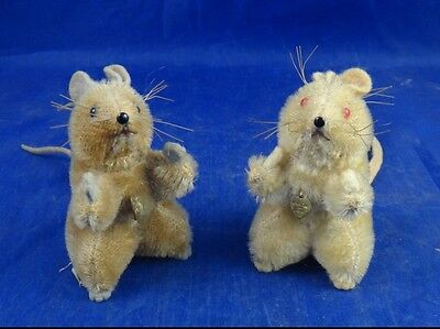 Vintage 1950's Berg Austria Mohair Pair Of Mice With Tag On Foot Berg Love Tags