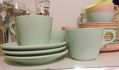 Boonton Melmac light green Set of 4 Cups and 3 Saucers Vintage