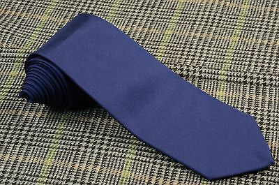 New Borrelli Napoli * Tie Silk 3 Folds Solid Blue Navy Hand Made Luxury