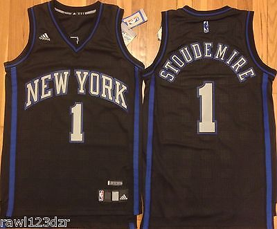 Amare Stoudemire New York Knicks Black Blue Mens Sewn Jersey Rev 30 XL #1 NWT