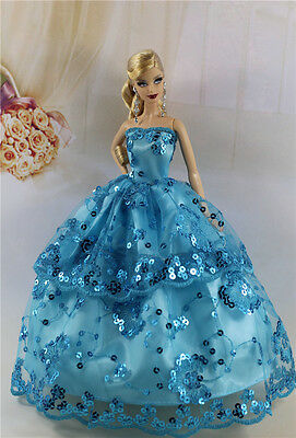 Blue Fashion Party Dress/Wedding Clothes/Gown For Barbie Doll S184P6