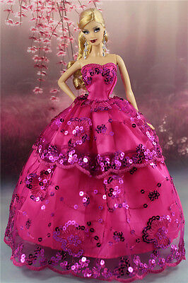 Rose Fashion Party Dress/Wedding Clothes/Gown For Barbie Doll S187P6