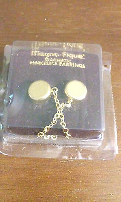 Vintage NOS New Old Stock Magno-Fique Magnetic Earrings Gold Tone Sealed Package