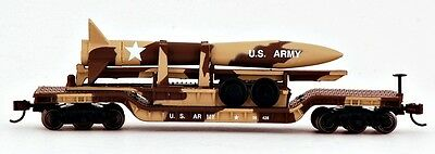 Bachmann N Scale Train 52' Center Depressed Flat Car with Missile 71397