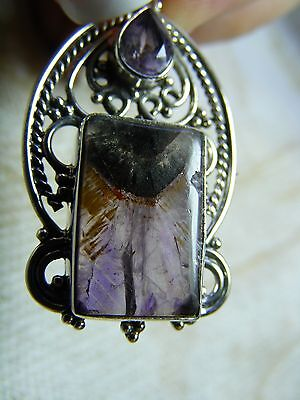 CACOXENITE SUPER 7 MELODY STONE & AMETHYST Pendant In Solid .925 Sterling Silver