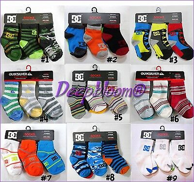 Quiksilver Dc Shoes Set 6 X6 Socks 1/4 Baby Boys 6 12 18 24 Months New