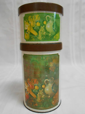 """VINTAGE """"BALLONOFF"""" KITCHEN CANISTER SET TIN RETRO STACKING CONTAINERS ~ MARKED"""