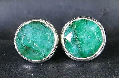 Estate 1.50ctw Genuine Emerald Solitaire 925 Sterling Silver 6mm Stud Earrings