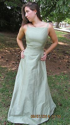 New PANOPLY GREEN SHIMMER bow full length formal dress sz 4 ladies nice!