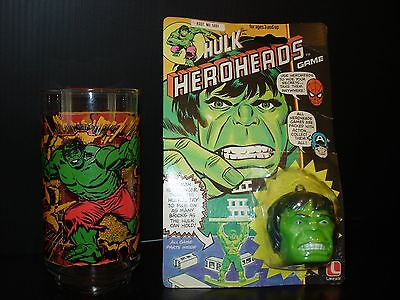 Vintage 70's 80's The Incredible Hulk Lot Glass and Heroheads Game Marvel Sealed