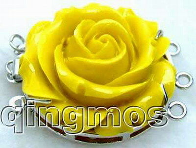 SALE Big 30mm yellow rose shape Coral 3strands Flower Clasp-gp147 Free shipping