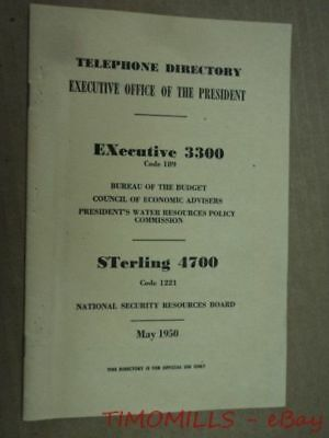 1950 Harry Truman White House National Security Budget Telephone Directory ORIG.