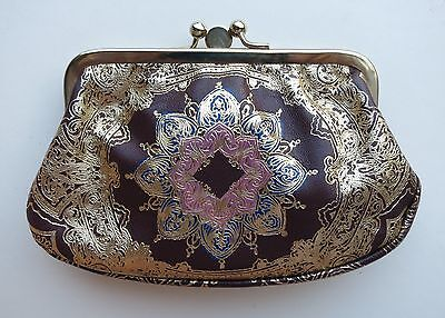 VTG ITALY FLORENTINE GOLD GILT TOOLED LEATHER COIN PURSE CLUTCH WALLET 2 COMPART