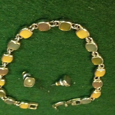 Beautiful Yellow/ Brown/ And Green Simulated Jade Bracelet/ With Stud Earrings