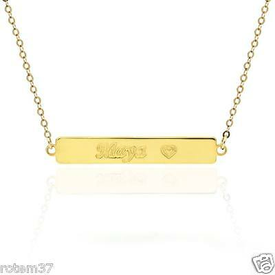 14k Gold plated brass metal Necklace Any letters Engraving Chain Flat plate name