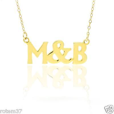 14k Gold plated Brass Metal Necklace Choose Any 2 letters Name personalize