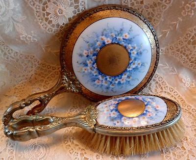 """FRENCH ORMOLU PORCELAIN HAND PAINTED """"FORGET ME NOT"""" LIMOGES?  MIRROR BRUSH SET"""