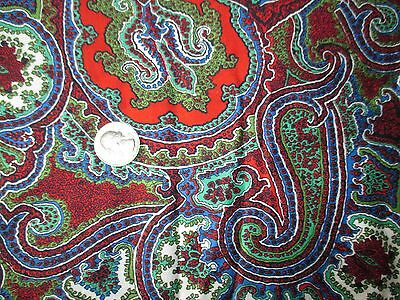 HIPPIE CHICK Vintage RED BLUE GREEN WHITE PAISLEY 1970's COTTON Fabric-shy 2 yd