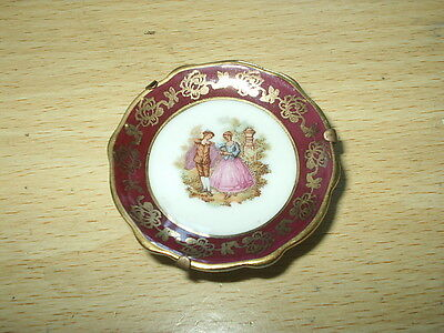 """Small LIMOGES France RED / GOLD Saucer LA REINE A2 -  2"""" diam EXCELLENT Cond"""