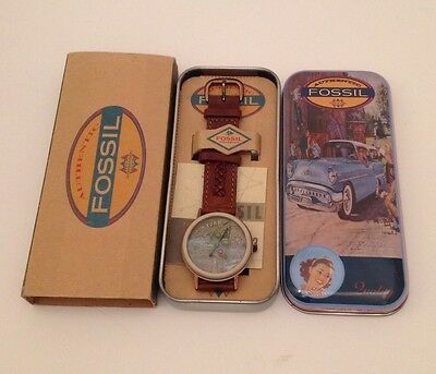 Vintage 1990's Fossil Watch Model BW-6755 Brown Leather Strap