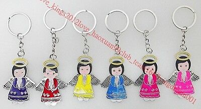 HOT Wholesale 24Pcs Exquisite Angel Drop Oil Silver P Alloy Key Rings Jewelry