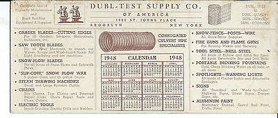 J-153 - Dubl-Test Supply Co, Brooklyn, NY, Corrugated Pipe, 1948 Ad Ink Blotter