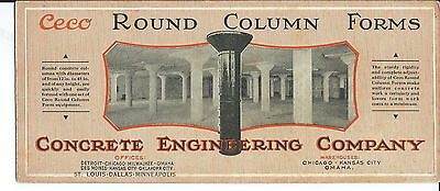 J-154 - CECO Round Column Forms, Concrete Co Advertising ink Blotter, 1920's-40s