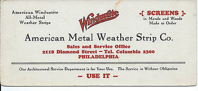 J-168 - Windustite, American Metal Weather Advertising ink Blotter, 1920's-40's