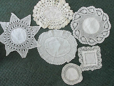 6 Lovely Vintage Linen & Lace Doilies/Dresser Toppers~White