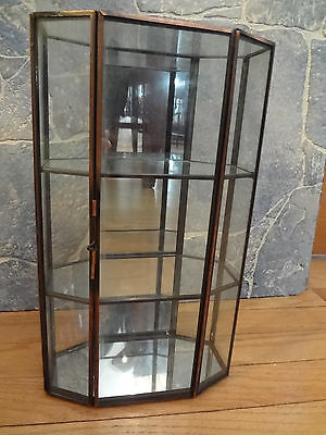 Vintage Glass Table Top Wall Curio Cabinet Display Shelf Case Box Mirror