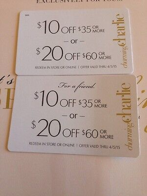 Two (2) Charming Charlie Coupons-  $10 off $35 or $20 off $60 Expires 4/5/2015