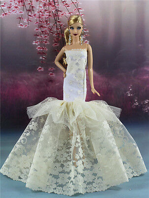 Royalty Mermaid Dress Party Dress/Wedding Clothes/Gown For Barbie Doll F08P8