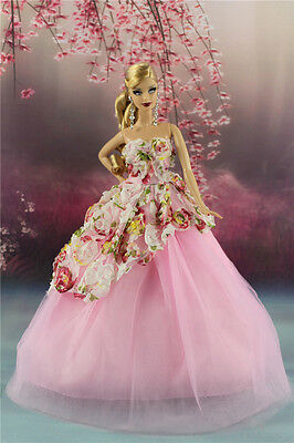 Pink Fashion Party Flower Dress/Wedding Clothes Gown For Barbie Doll AF14P8