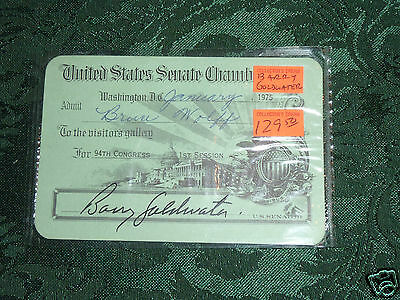 US Senate Visitor Pass 1975 signed  by the SENATOR BARRY GOLDWATER